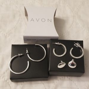 Avon Suncoast 3 pair Earring Set Silvertone